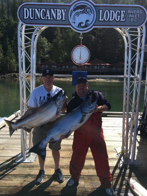 Father and son Doug and Butch O'Donnell hoist 42- and 36-pound Chinook. (DUNCANBY LODGE)