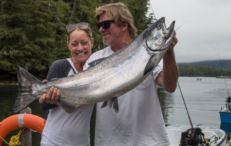 "Rivers Inlet Sportsman's Club owner Simon and his wife Stephanie with a trophy ""tyee,"" a Chinook of 30 pounds or more, caught August 5. (RIVERS INLET)"
