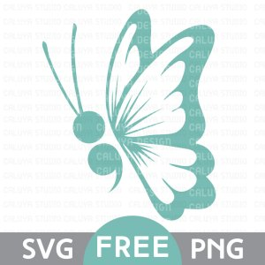 Semicolon Butterfly Free SVG & PNG Download
