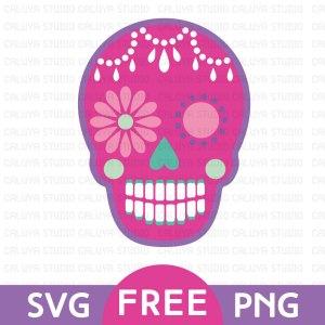 Pink Sugar Skull Free SVG