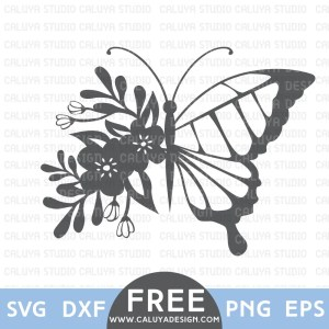 Flower Butterfly Free SVG