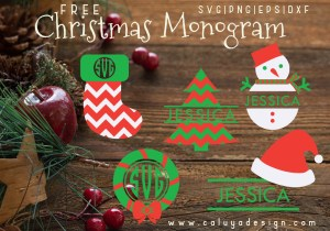 christmas monogram free SVG