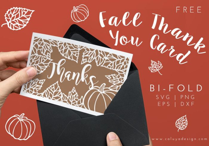 Fall thank you card free SVG