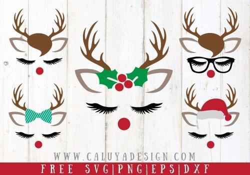 Reindeer Faces Free SVG