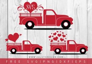 Valentine Heart Truck FREE SVG