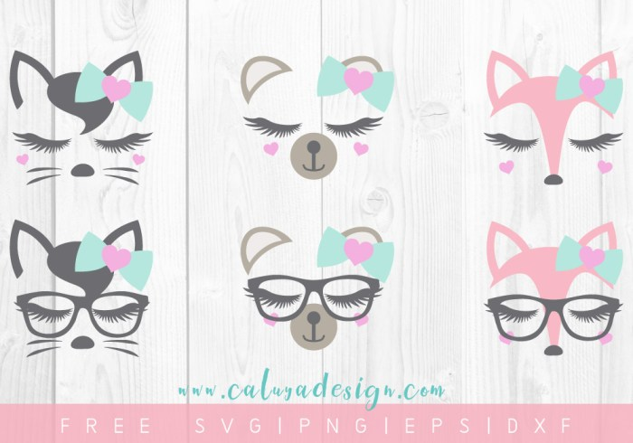 FREE Lovely Animal Faces SVG