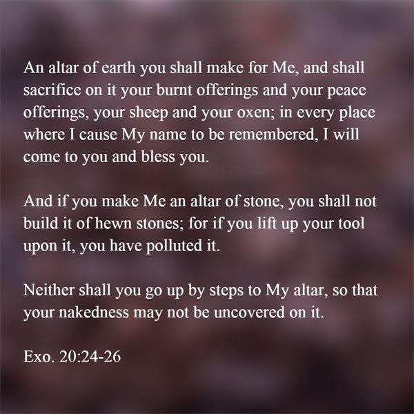 Sunday Morning Church: Exodus 20:22-26 – An Altar of Earth You Will