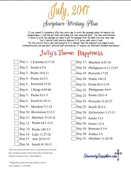 July 2017 Scripture Writing Plan