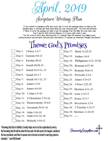April 2019 Scripture Writing Plan