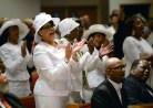 Al Hartmann | The Salt Lake Tribune Members of the Calvary Baptist Church celebrate in song at Pastor France Davis's 40th anniversary as their pastor Sunday April 27 in Salt Lake City.