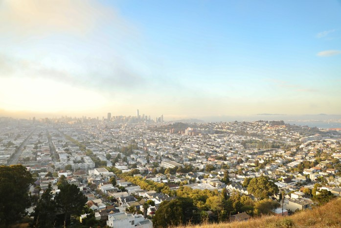 birds eye view of the San Francisco Downtown from Bernal Heights Summit