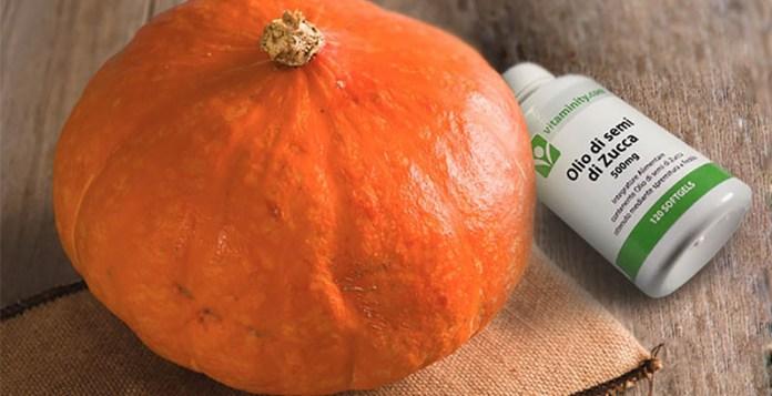 integratore olio di semi di zucca ricco in acidi grassi acido oleico acido linoleico azione anti-dht