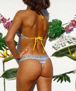 Bikini top atado al cuello estampada