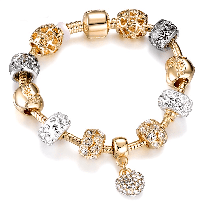 Bracelet Charms Doré et Argenté décoré d'un Charm Coeur