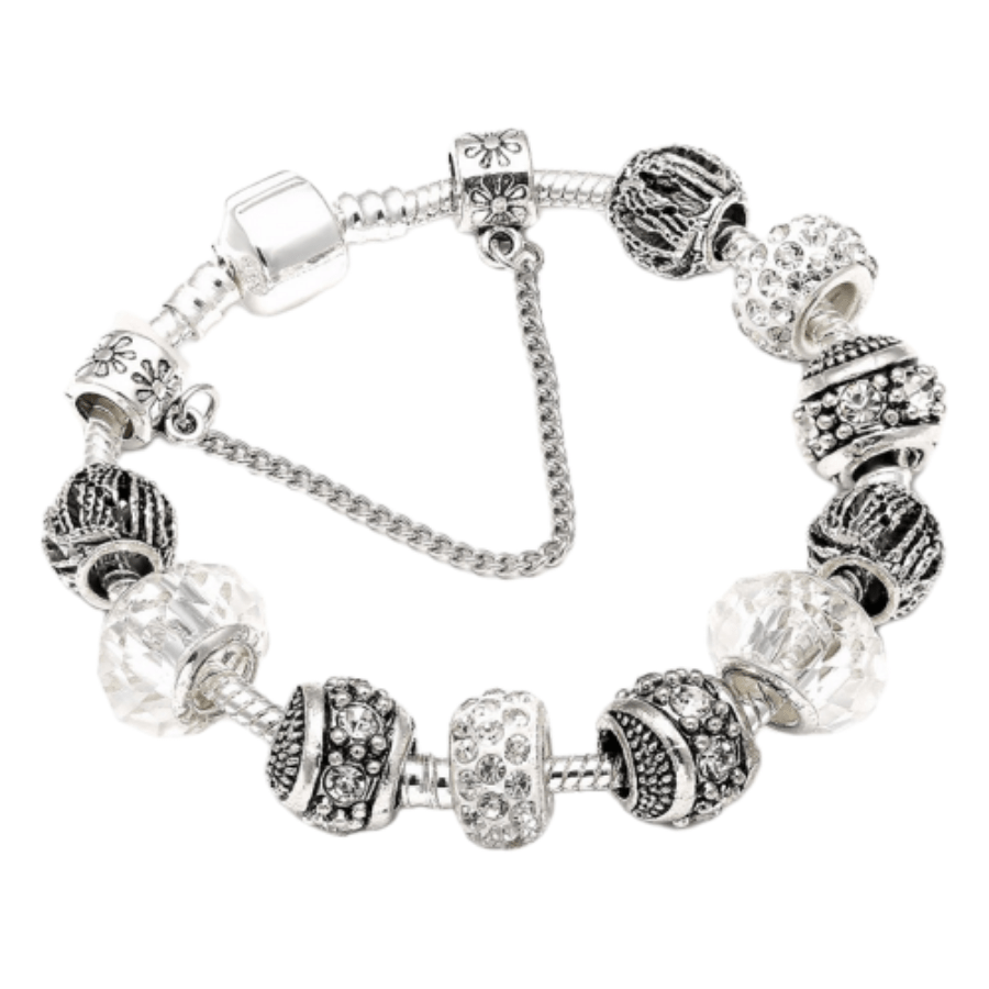 Bracelet Charms en Plaqué Argent et Cristal d'Autriche Blanc
