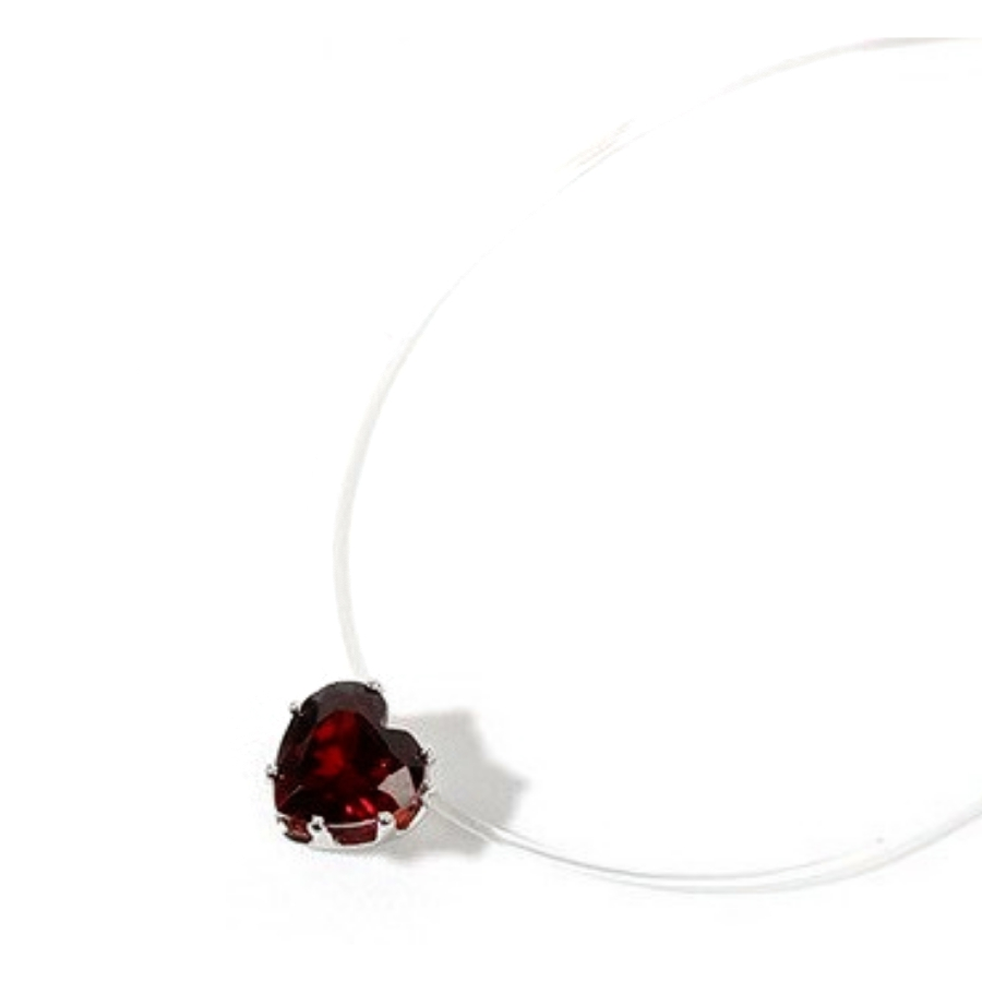 Collier Fil Invisible Coeur Rouge