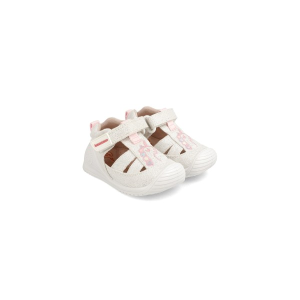 Cangrejeras de Lona bebé Anais blanca Biomecanics par