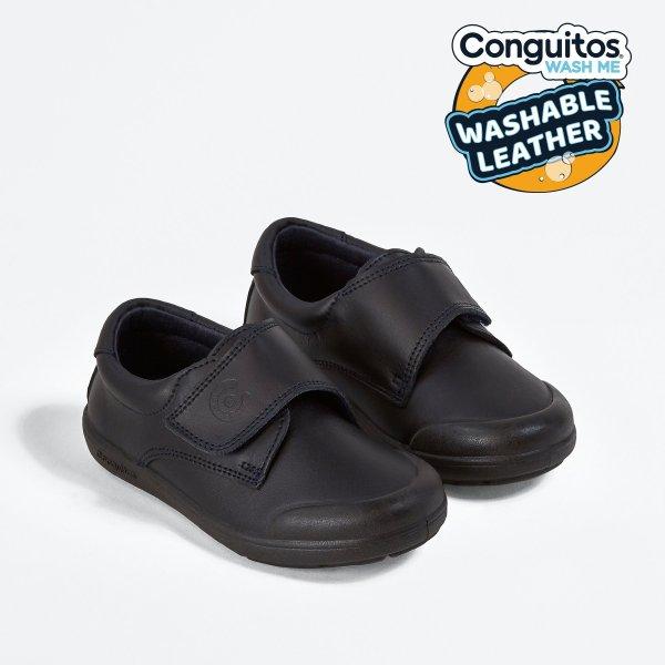 Zapatos colegial piel lavable Conguitos diagonal