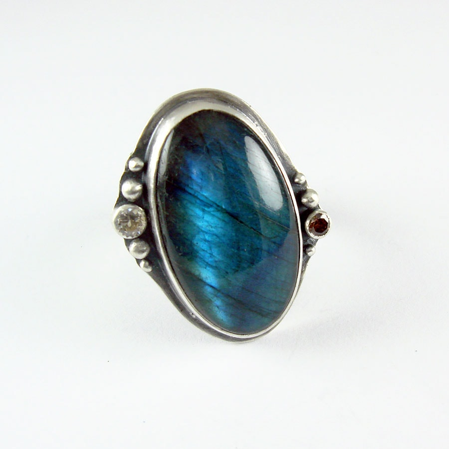 Labradorite Ring In Sterling Silver And Cubic Zirconia