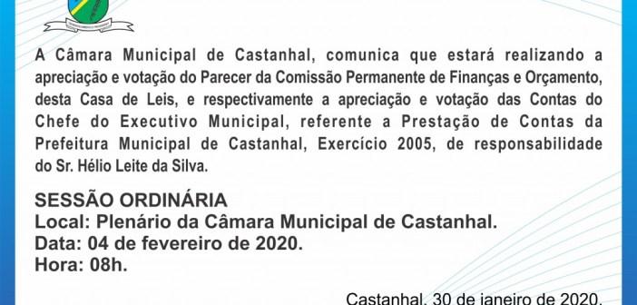 Comunicado que estará realizando a apreciação e votação do Parecer da Comissão Permanente de Finanças e Orçamento em 04 de Fevereiro de 2020