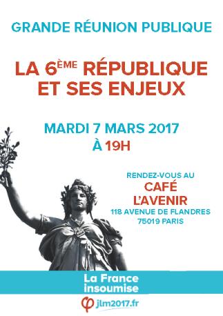 Affiche de la réunion publique à Paris 19e le 7 mars 2017