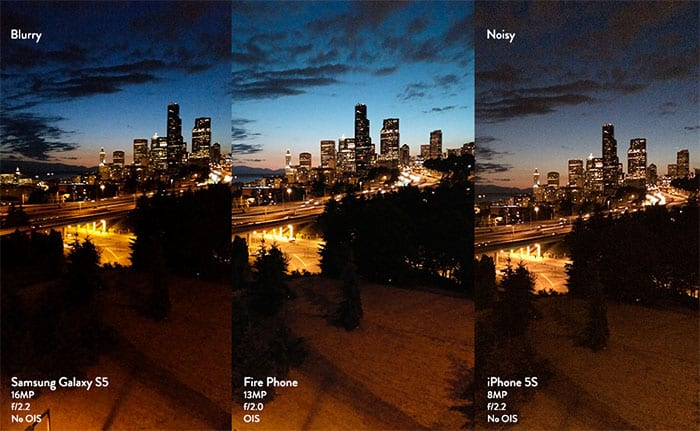 Fotos iPhone 5S, el Samsung Galaxy S5 y el Fire Phone en una foto nocturna