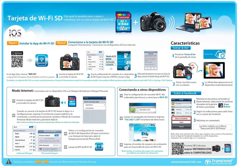 Instrucciones instalación Tarjetas Transcend SDHC WIFI (16GB y 32GB)