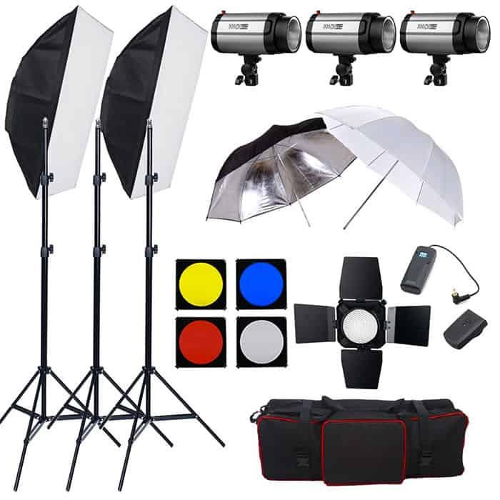 Kit de iluminación profesional para estudios fotográficos por unos 300 euros