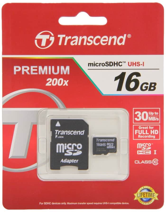 Transcend TS16GUSDHC10 - Tarjeta microSD - UHS-1, 16 GB de almacenamiento de Clase 10.