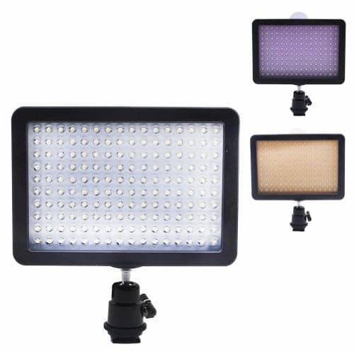 Neewer 10072746 - Panel de luz con adaptador de zapata para Canon, Nikon, Olympus, Pentax DSLR y videocámaras (160 LED, 7.5 V)