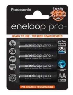 Panasonic Eneloop Pro BK-3HCDE/4BE - 4 pilas recargables, AA, 2500 mAh
