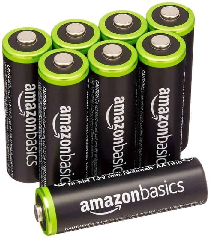 AmazonBasics - 8 pilas recargables AA Ni-MH (precargadas, 1000 ciclos, 2000 mAh)