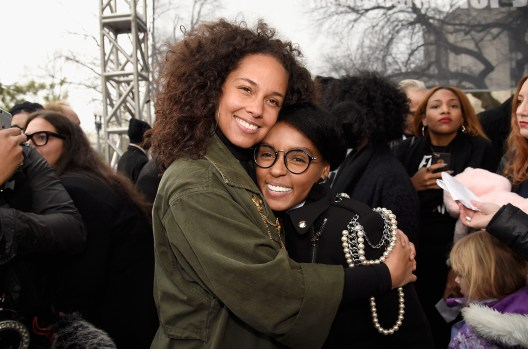 WASHINGTON, DC - JANUARY 21: Alicia Keys (L) and Janella Monae attend the rally at the Women's March on Washington on January 21, 2017 in Washington, DC. (Photo by Kevin Mazur/WireImage)