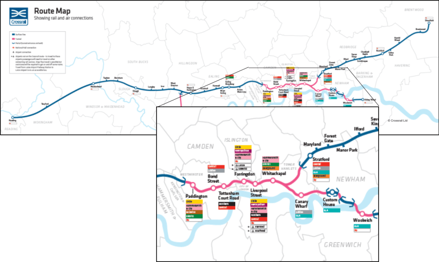 Crossrail network map, highlighting central London section
