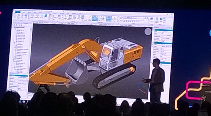 The excavator model used to demonstrate BricsCAD's mechanical features