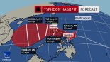 Forecast if the typhoon heads to the west.