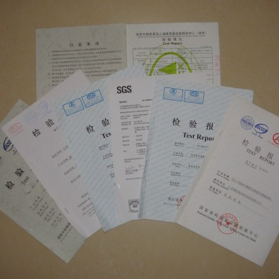 Test certificates against industrial standards
