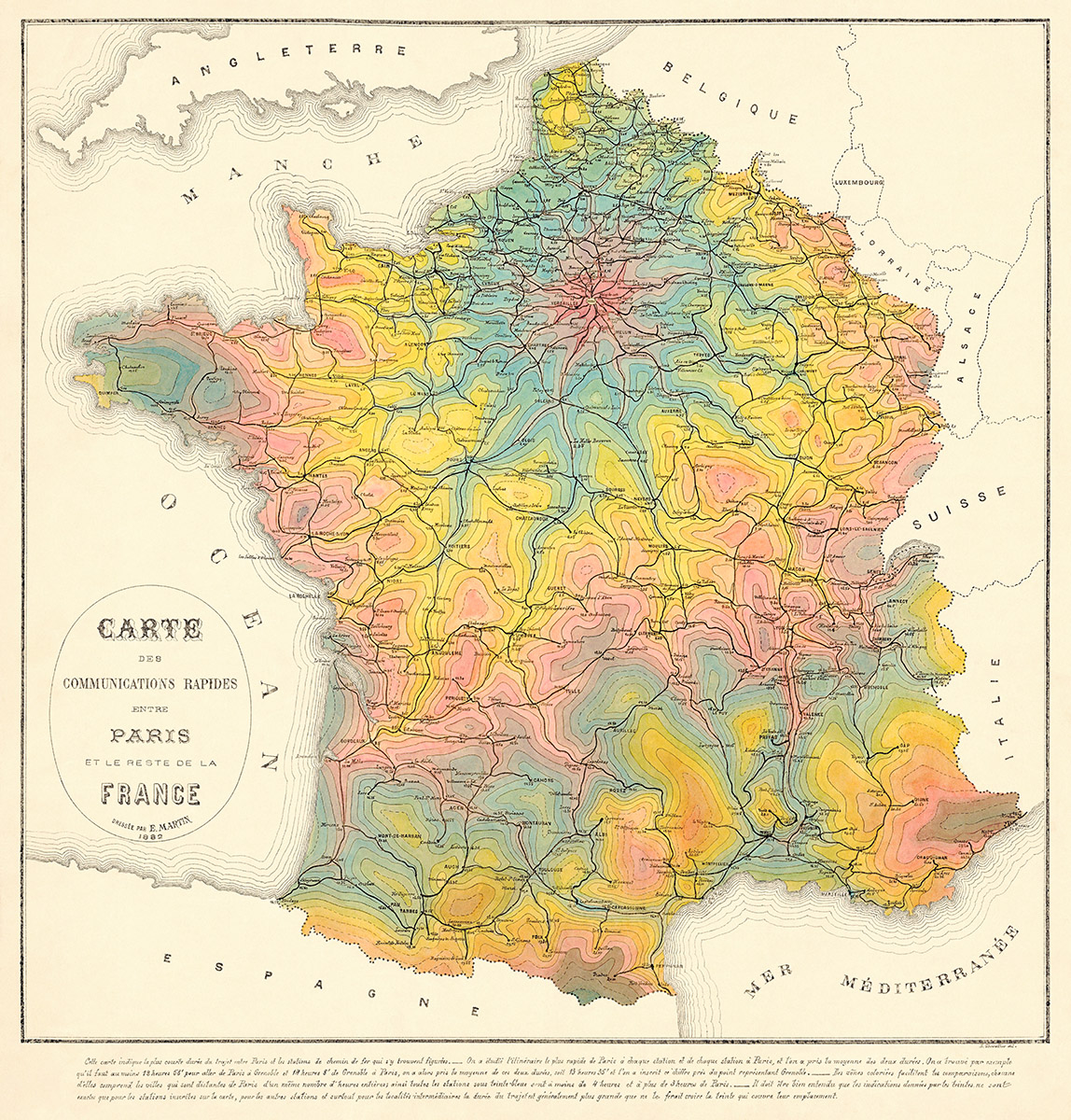 1882 Map of Travel Time by Rail in France Transit Maps Store