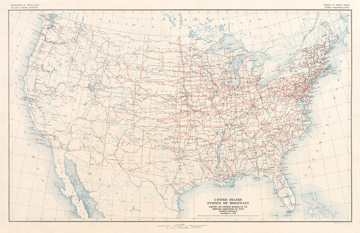 1926 Us Highway System Map Transit Maps Store - Us-highway-map