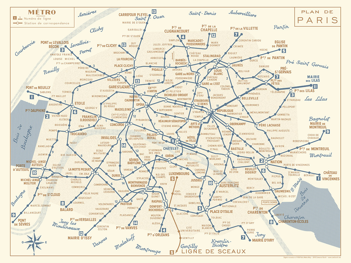 1956 Paris Metro Map Blue And Gold Transit Maps Store