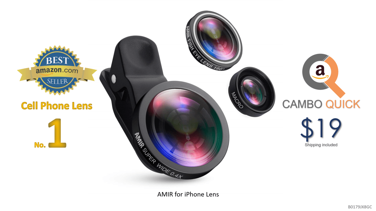 AMIR for iPhone Lens, 0.4X Wide Angle Lens + 180°Fisheye Lens & 10X Macro Lens (Screwed Together), Clip on Cell Phone Lens for iPhone Camera Lens for iPhone.png
