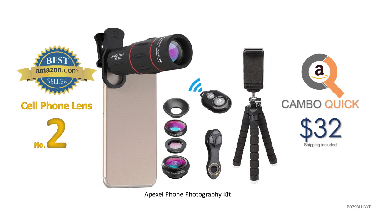 Apexel Phone Photography Kit-Flexible Phone Tripod +Remote Shutter +4 in 1 Lens Kit-High Power 18X Monocular Telephoto Lens, Fisheye, Macro & Wide Angle.png