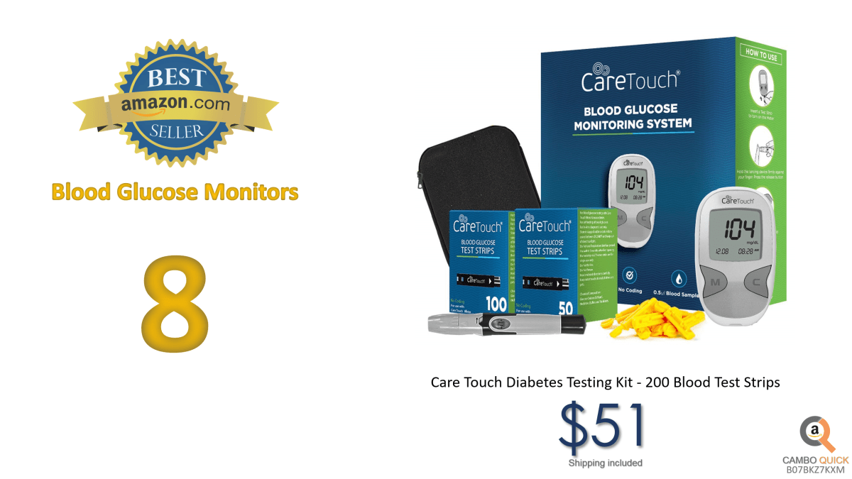 Care Touch Diabetes Testing Kit – Care Touch Blood Glucose Meter, 200 Blood Test Strips, 1 Lancing Device, 30 Gauge Lancets-with Carrying Case
