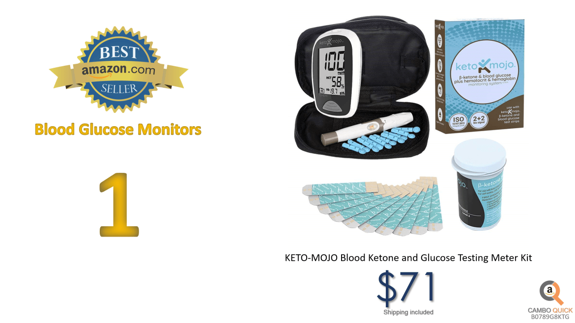 KETO-MOJO Blood Ketone and Glucose Testing Meter Kit, Monitor Your ketogenic Diet, 1 Lancet Device, 10 Lancets, 10 Ketone Test Strips, Carrying Case. Does NOT Include Glucose Strips