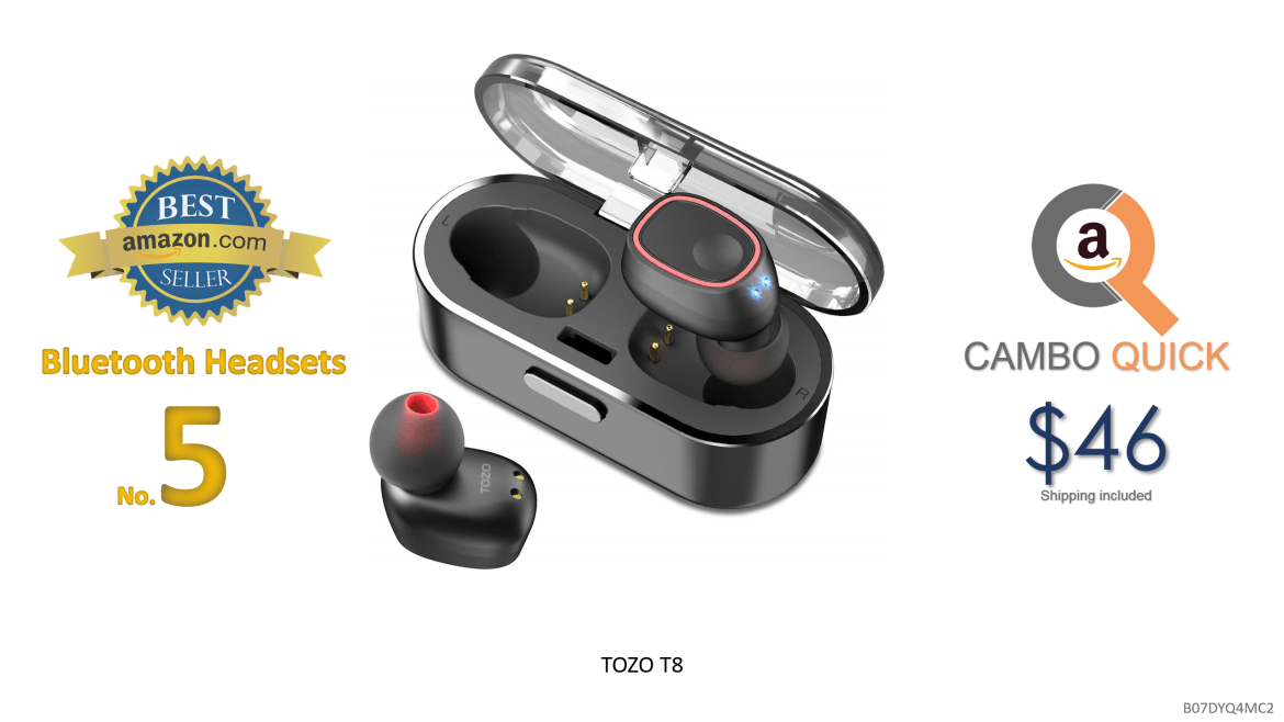 TOZO T8 True Wireless Stereo Headphones TWS Bluetooth in-Ear Earbuds with Charging Case Built-in Mic Headset. Premium Sound with Bass for Running Sport