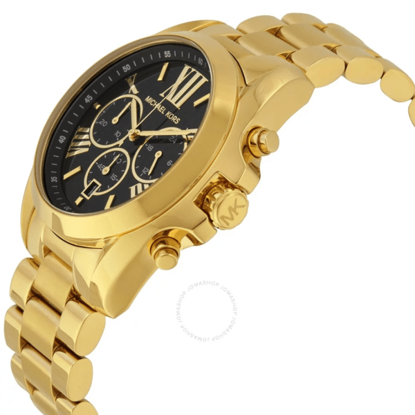 MICHAEL KORS Mid-Size Bradshaw Chronograph Black Dial Gold-tone Ladies Watch MK5739