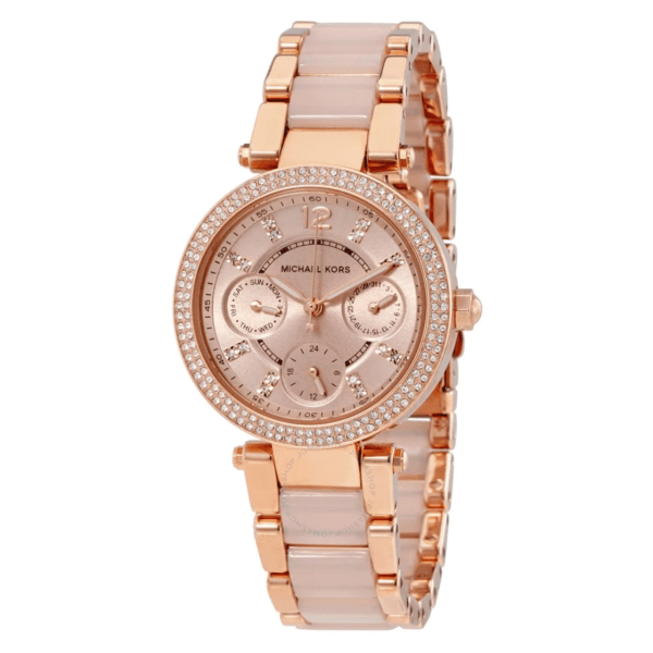 MICHAEL KORS  Parker Mini Multi-Function Rose Dial Rose Gold-tone and Blush Acetate Ladies Watch MK6110