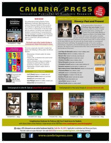 Cambria Press ASA 2012 Program Outside Back Cover