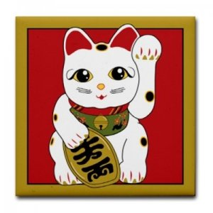 "The ""maneki-neko"" (beckoning cats, bidding good fortune)"