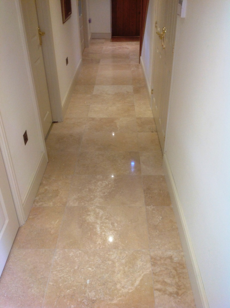 Travertine floor after polishing in Great Wilbraham Cambridge
